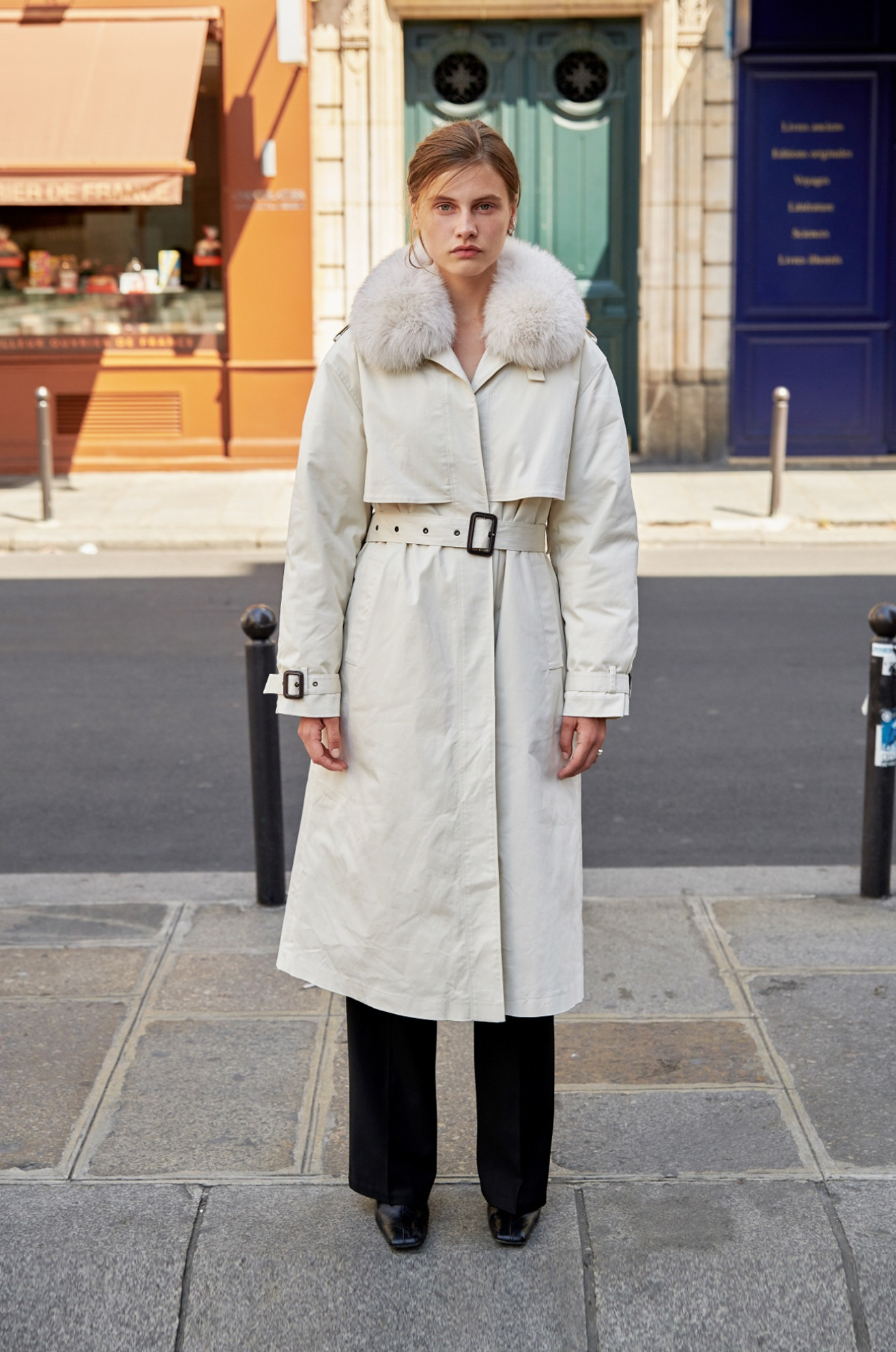 trench coat with detachable duck down liner & fox fur trim